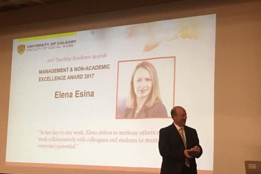 Elena Esina Received the Faculty of Social Work Management and Non-Academic Excellence Award