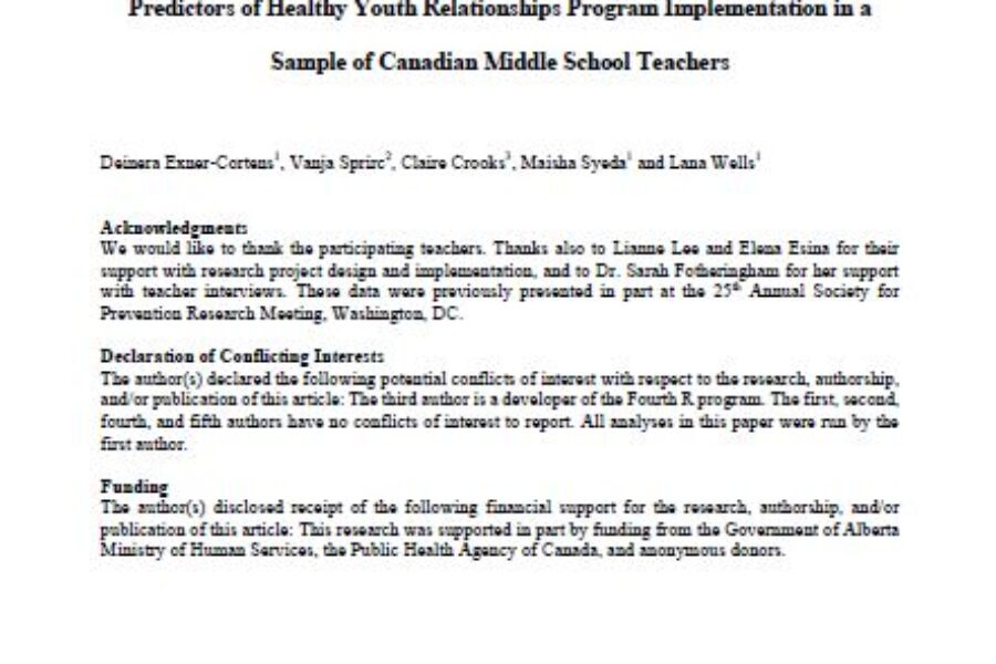 Predictors of Healthy Youth Relationships Program Implementation in a Sample of Canadian Middle School Teachers