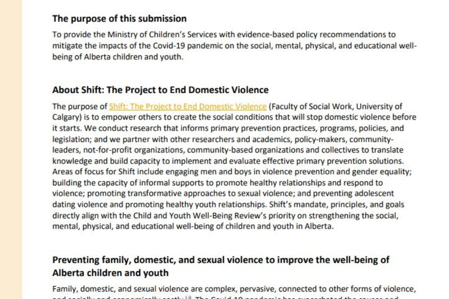 Submission to the Government of Alberta's Ministry of Children's  Services to Improve the Well-being of Alberta Children and Youth