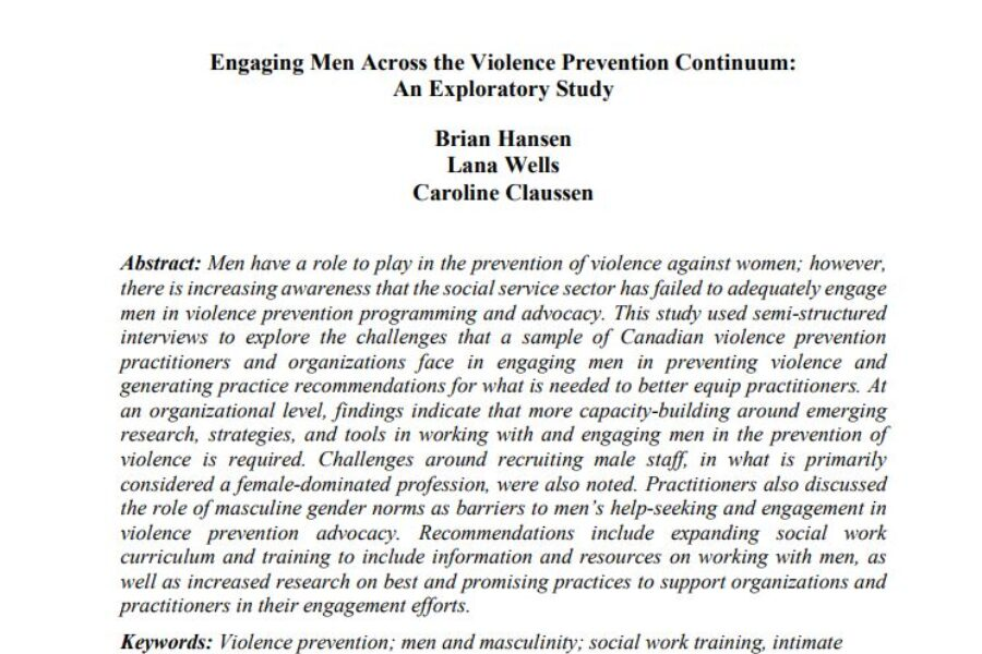 Engaging Men Across the Violence Prevention Continuum: An Exploratory Study